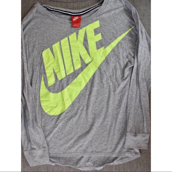 6fcfe158 Nike Tops | Neon Long Sleeve Oversize Shirt | Poshmark
